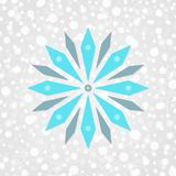 Snowflake vector symbol. Merry Christmas & Happy New Year illustration. Winter holiday snow pattern. Decorative blue sign on gray white gradient background stock illustration