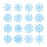 Snowflake vector symbols, christmas snow icons set. Blue color Stock Photo
