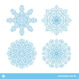 Snowflake vector symbols, christmas snow icons set. Blue color Stock Photography