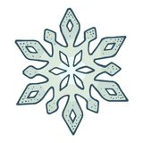 Snowflake. Vector vintage color engraving illustration. Isolated on white stock illustration