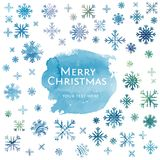 Snowflake watercolor Christmas background Royalty Free Stock Photos