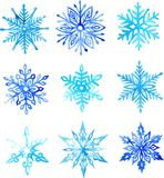 Snowflake watercolor pattern Royalty Free Stock Images