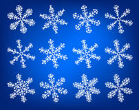Snowflake white and blue set Royalty Free Stock Photography