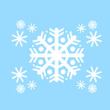 Snowflake White Flat Icon Over Blue Winter Royalty Free Stock Images