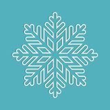 Snowflake white outline with shadow Royalty Free Stock Images