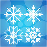 Snowflake White Over Blue Winter Background. Flat Vector Illustration Royalty Free Stock Photo