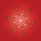 Snowflake from white paper on a color background Stock Photos