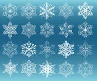 Snowflake white set Stock Images