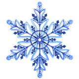 Snowflake in white snow. Isolated. Stock Image