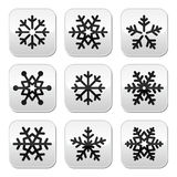Snowflake winter  buttons set Royalty Free Stock Photo