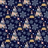 Snowflake winter christmas tree holiday fir-tree design season december snow star celebration ornament vector. Illustration seamless pattern background Royalty Free Stock Photos
