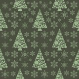 Snowflake winter christmas tree holiday fir-tree design season december snow star celebration ornament vector. Illustration seamless pattern background Royalty Free Stock Image