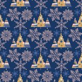 Snowflake winter christmas tree holiday fir-tree design season december snow star celebration ornament vector. Illustration seamless pattern background Royalty Free Stock Images