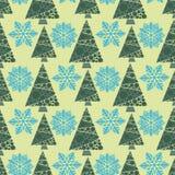 Snowflake winter design season december snow trees celebration ornament vector illustration seamless pattern background Stock Photography