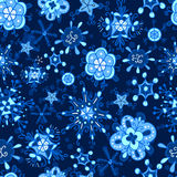 Snowflake winter pattern. Seamless snowflakes pattern. Winter holiday background. Christmas wrapping. Snow endless tiling texture stock photo
