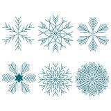 Snowflake Winter Set of Blue Isolated Six Icon Silhouette on White Background. stock illustration