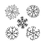 Snowflake winter set. Snowflake winter. Hand drawn sketch set illustration isolated on white background stock illustration