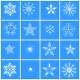 Snowflake  16 winter set vector. Stock Photography