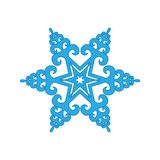 Snowflake winter  on white background. Blue icon silhouette. Vector illustration for Christmas design. New Year sign. Symb Stock Images