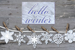 Snowflake  on  wood background Stock Photography