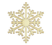 Snowflake. Wood snowflake, close up image, on white background royalty free stock image