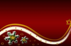 Snowflake xmas Illustration gold red background Royalty Free Stock Images