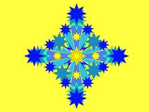 Snowflake on yellow background Stock Images