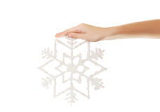 Snowflake in your hand Royalty Free Stock Photography