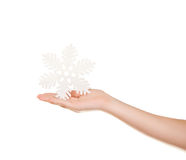 Snowflake in your hand Stock Photos