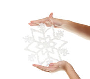Snowflake in your hand Royalty Free Stock Photo