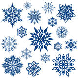 Snowflaken shapes samlingen Royaltyfri Foto