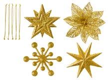 Snowflakes, απομονωμένη κρεμώντας διακόσμηση Χριστουγέννων, νιφάδες χιονιού Στοκ φωτογραφία με δικαίωμα ελεύθερης χρήσης