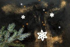 Snowflakes, αστέρια και μίσχος του FIR στο Μαύρο με τη σκόνη Στοκ Φωτογραφίες