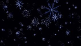 Snowflakes αύξησης, μεταλλίνη, ευρεία γωνία, loopable Νιφάδες χιονιού που αυξάνονται κοντά επάνω στο μαύρο υπόβαθρο με τον άλφα απεικόνιση αποθεμάτων
