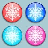 snowflakes λευκό Snowflakes τρισδιάστατα κουμπιά Στοκ εικόνες με δικαίωμα ελεύθερης χρήσης