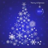 snowflakes καρτών απεικόνισης Χριστουγέννων διάνυσμα δέντρων Κάρτα Χριστουγέννων για το έτος 2019 στοκ φωτογραφία