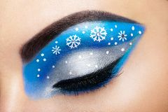 Snowflakes κοριτσιών ματιών makeover Στοκ εικόνες με δικαίωμα ελεύθερης χρήσης
