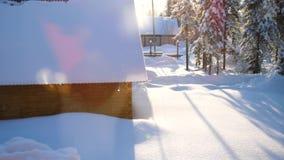 Snowflakes πέφτουν αργά στο έδαφος, ο φωτεινός ήλιος φωτίζει το μειωμένο χιόνι απόθεμα βίντεο