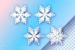4 snowflakes περικοπών της Λευκής Βίβλου Τεσσάρων Origami υπόβαθρο χειμερινών διακοσμήσεων εποχιακές διακοπές χιονοπτώσεις βακκιν ελεύθερη απεικόνιση δικαιώματος