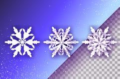3 snowflakes περικοπών της Λευκής Βίβλου Τριών Origami υπόβαθρο χειμερινών διακοσμήσεων εποχιακές διακοπές χιονοπτώσεις βακκινίων διανυσματική απεικόνιση