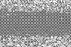 Snowflakes πλαίσιο με το trasnparent υπόβαθρο για τα Χριστούγεννα και το νέο πρότυπο εποχής έτους ή χειμώνα για το inviation, ευχ στοκ φωτογραφία με δικαίωμα ελεύθερης χρήσης