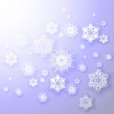 Snowflakes σε ένα μπλε διάνυσμα υποβάθρου Στοκ Εικόνα