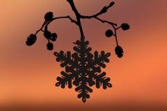 Snowflakes σκιαγραφιών στο ηλιοβασίλεμα Στοκ Φωτογραφία