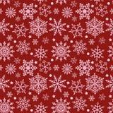Snowflakes στην κόκκινη άνευ ραφής σύσταση υποβάθρου απεικόνιση αποθεμάτων