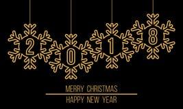 2018 snowflakes στη διακόσμηση, Χαρούμενα Χριστούγεννα καλή χρονιά διανυσματική απεικόνιση
