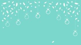 Snowflakes υποβάθρου Χριστουγέννων φτερά και σφαίρες Χριστουγέννων στο υπόβαθρο goluboi διάνυσμα διανυσματική απεικόνιση