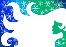 Snowflakes χειμερινών γυναικών ταπετσαρία ταμπλετών Στοκ εικόνα με δικαίωμα ελεύθερης χρήσης