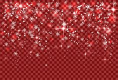 Snowflakes χιονοπτώσεων και σπινθηρίσματος διακοπών Χριστουγέννων στο κόκκινο διαφανές υπόβαθρο ελεύθερη απεικόνιση δικαιώματος