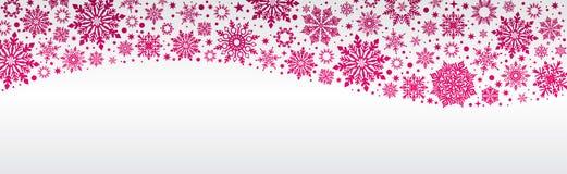 Snowflakes Χριστουγέννων διανυσματικοί άσπρος κόκκινος εμβλημάτων Ιστού και ασημένιος διανυσματική απεικόνιση