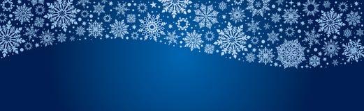 Snowflakes Χριστουγέννων διανυσματικό έμβλημα Ιστού μπλε και ασημένιο απεικόνιση αποθεμάτων